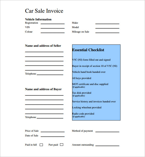 Used Car Sales Invoice Template