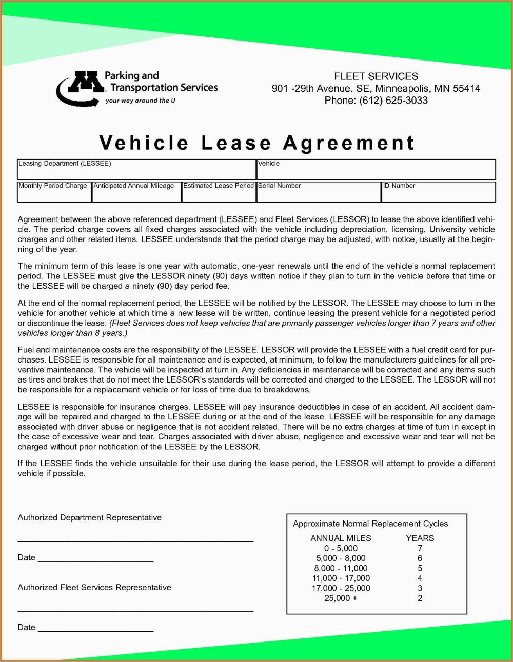 Vehicle Rental Agreement Template Free