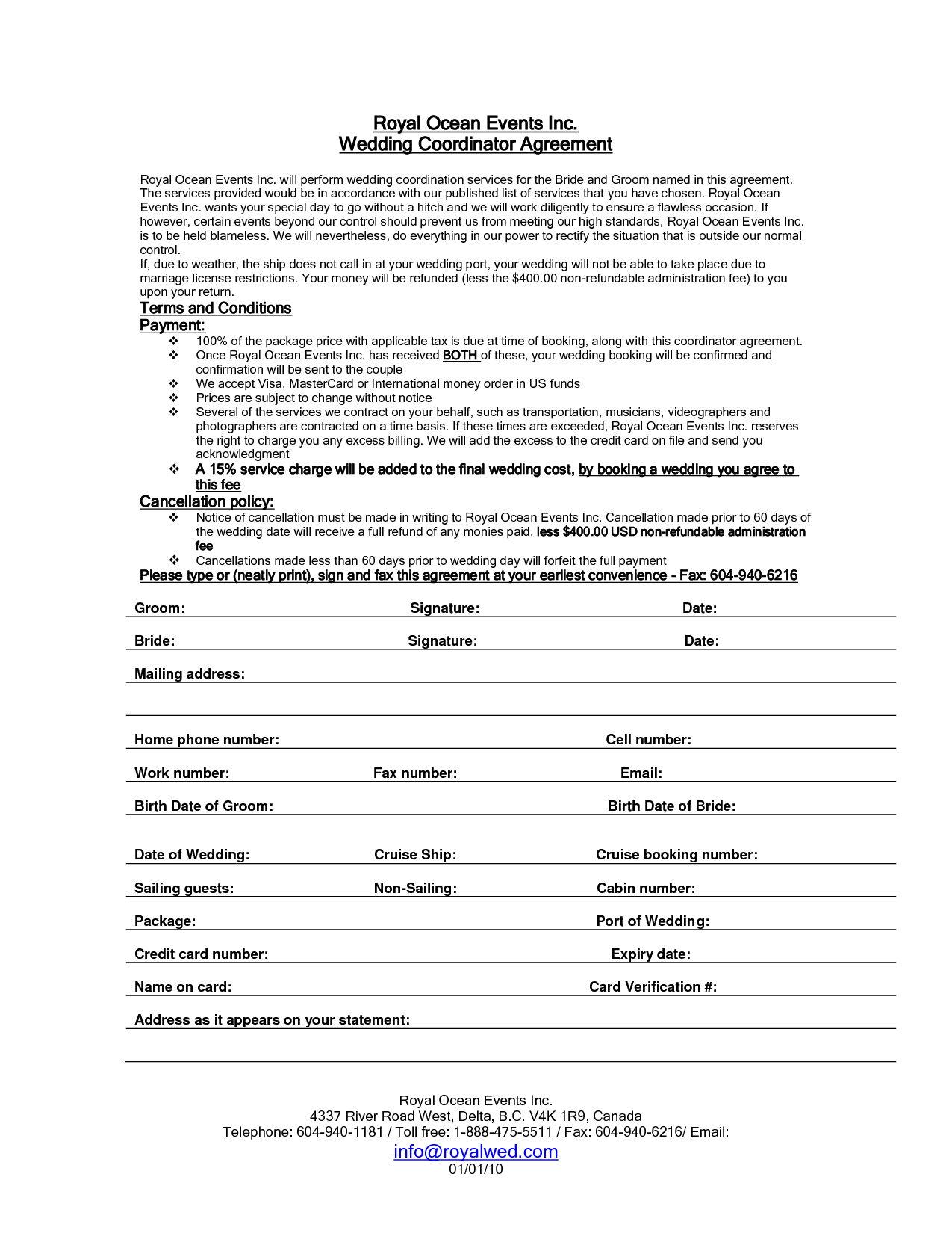 Wedding Planning Contract Templates Free