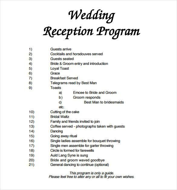 Wedding Reception Program Templates