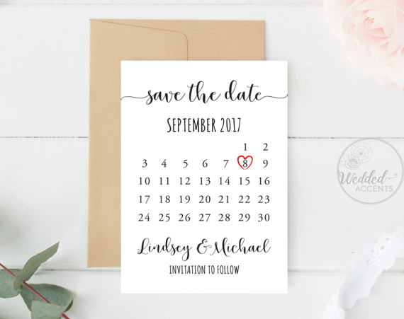 Wedding Save The Date Calendar Template