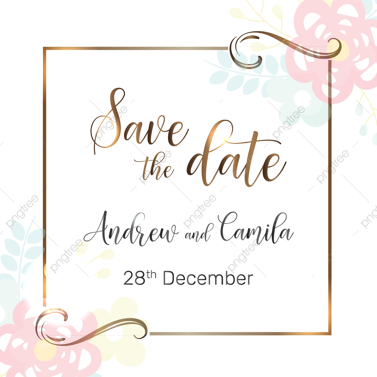 Wedding Save The Date Template Png