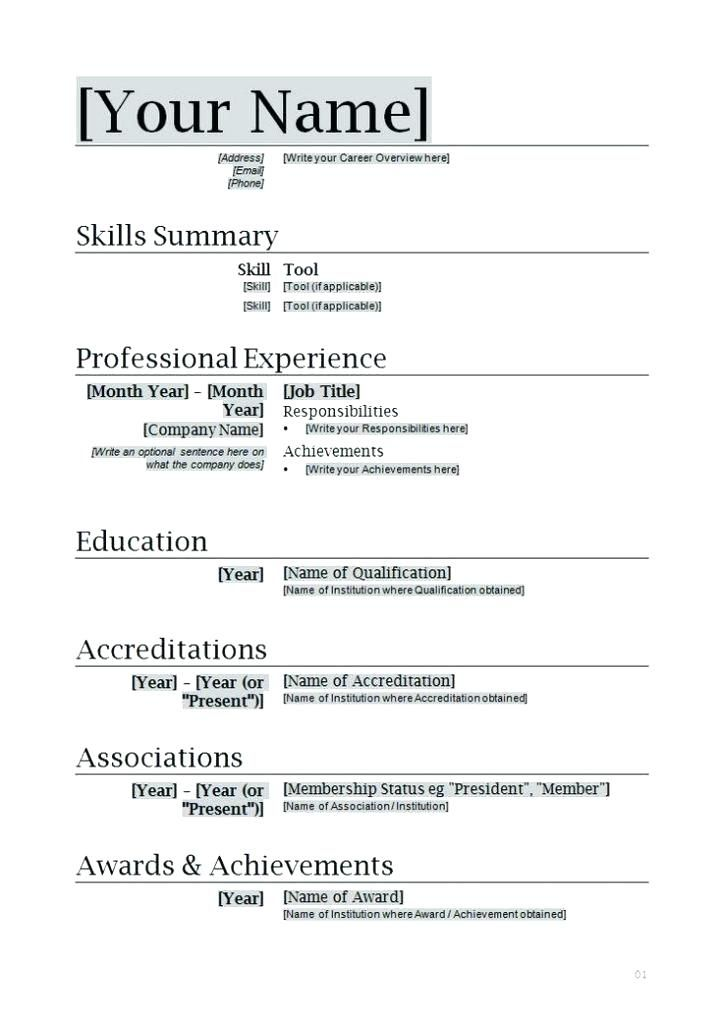 Word Document Resume Templates Word