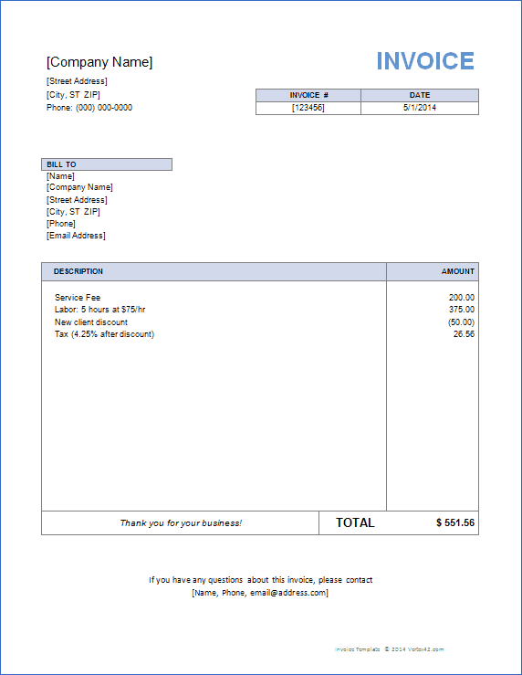 Word Free Template For Invoice