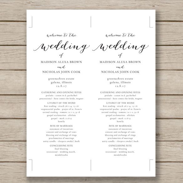 Word Wedding Program Templates