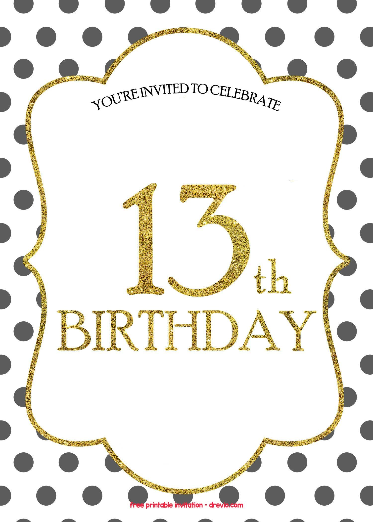 13th Birthday Invitations Free Templates