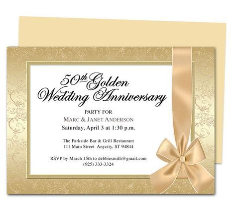 50th Wedding Anniversary Card Templates