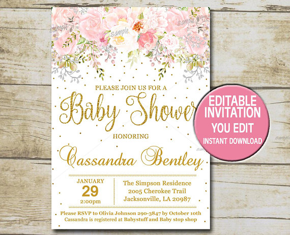 Baby Girl Editable Template Baby Shower Invitation