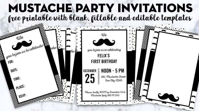 Blank Editable Birthday Invitations Templates Free