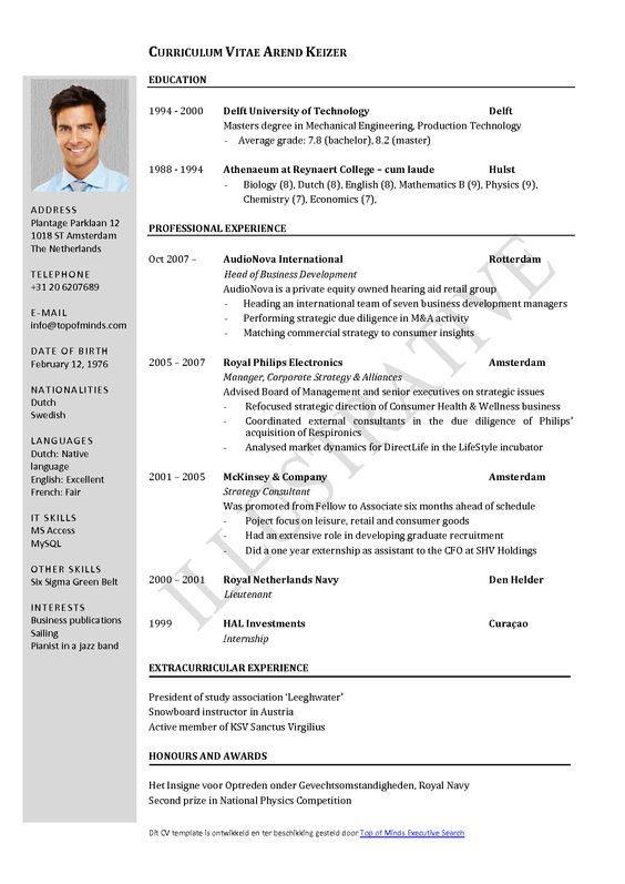 Curriculum Vitae Template Word Free Download