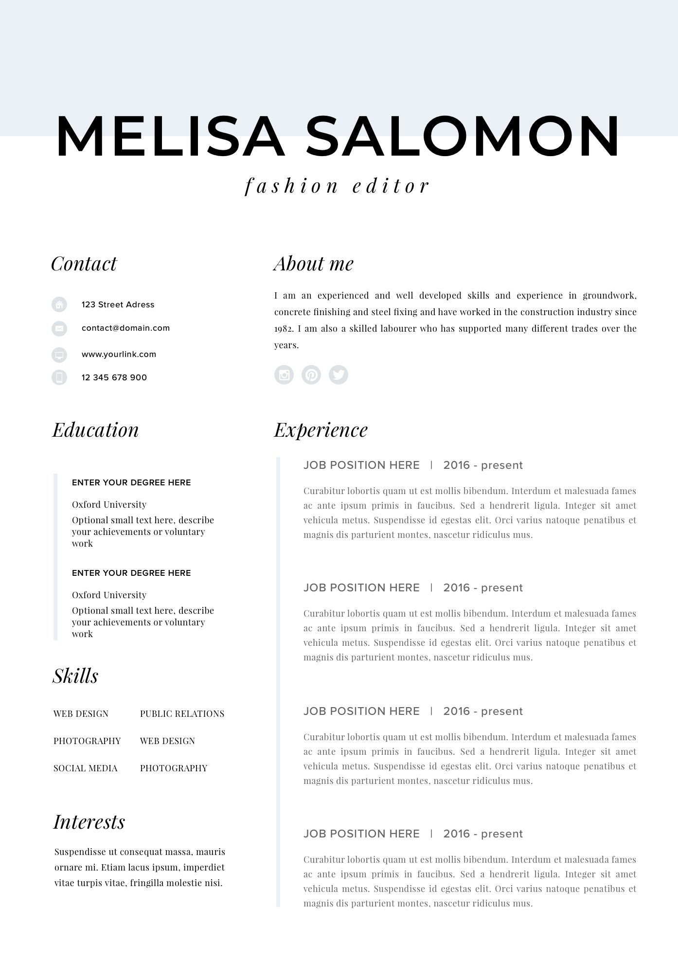 Cv Template For Mac Pages
