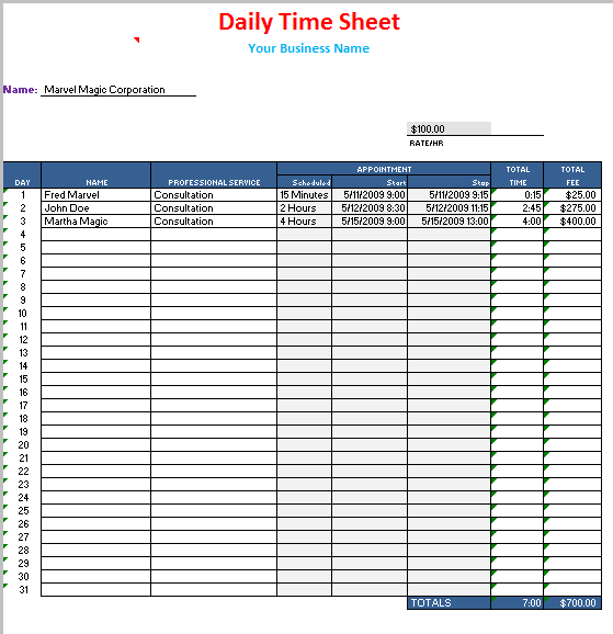 Daily Timesheet Excel Template Free