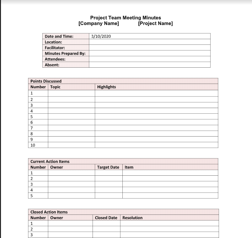Free Meeting Minute Template