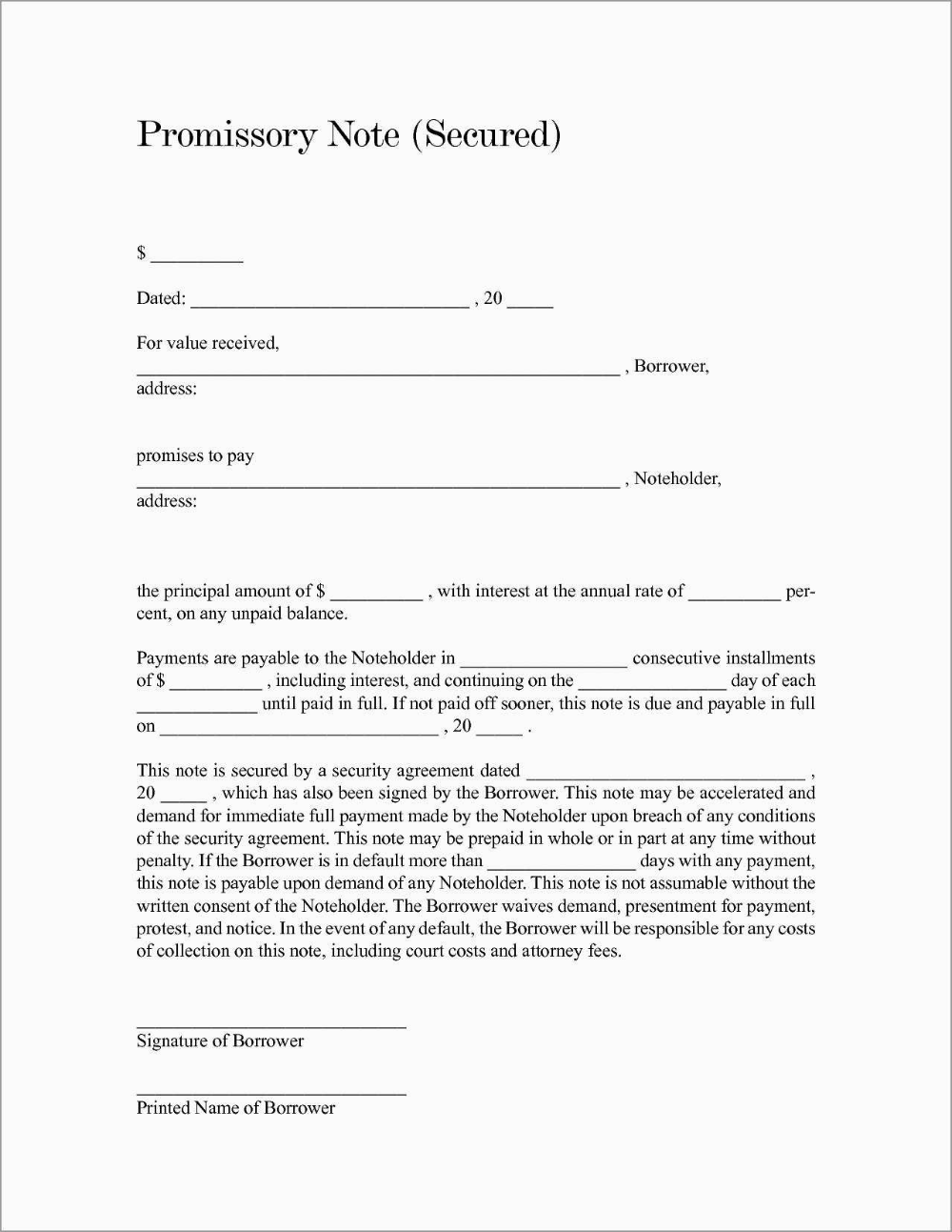 Free Online Promissory Note Template