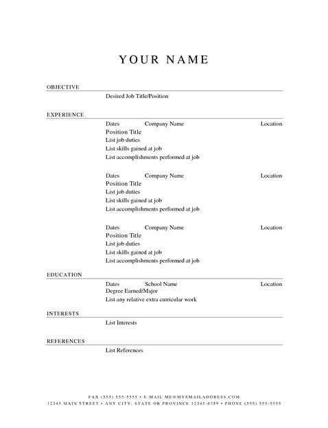 Free Printable Blank Resume Templates
