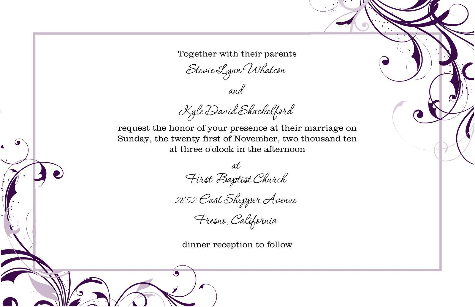 Free Wedding Invitations Templates For Word