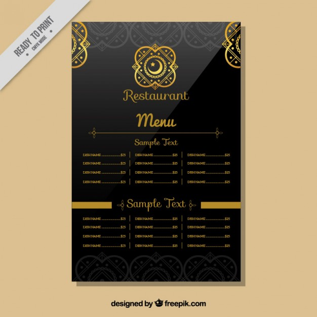 Indian Restaurant Menu Template Free