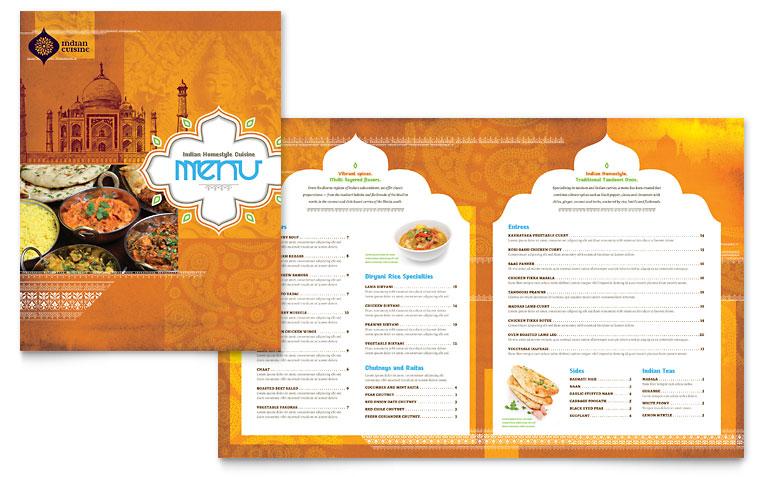 Indian Restaurant Menu Template Word