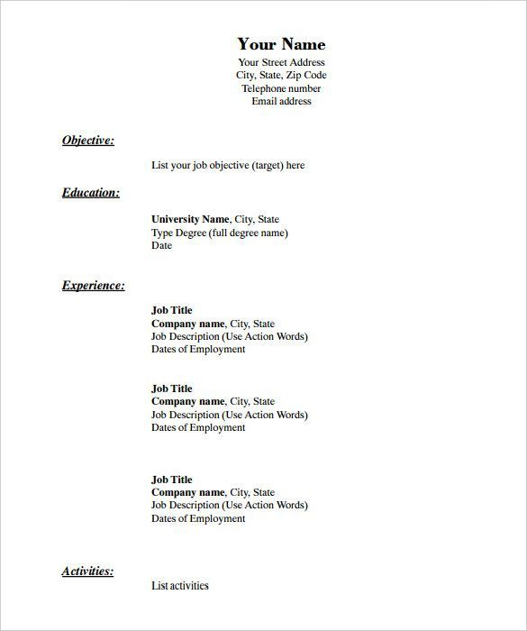 Microsoft Word Blank Resume Templates