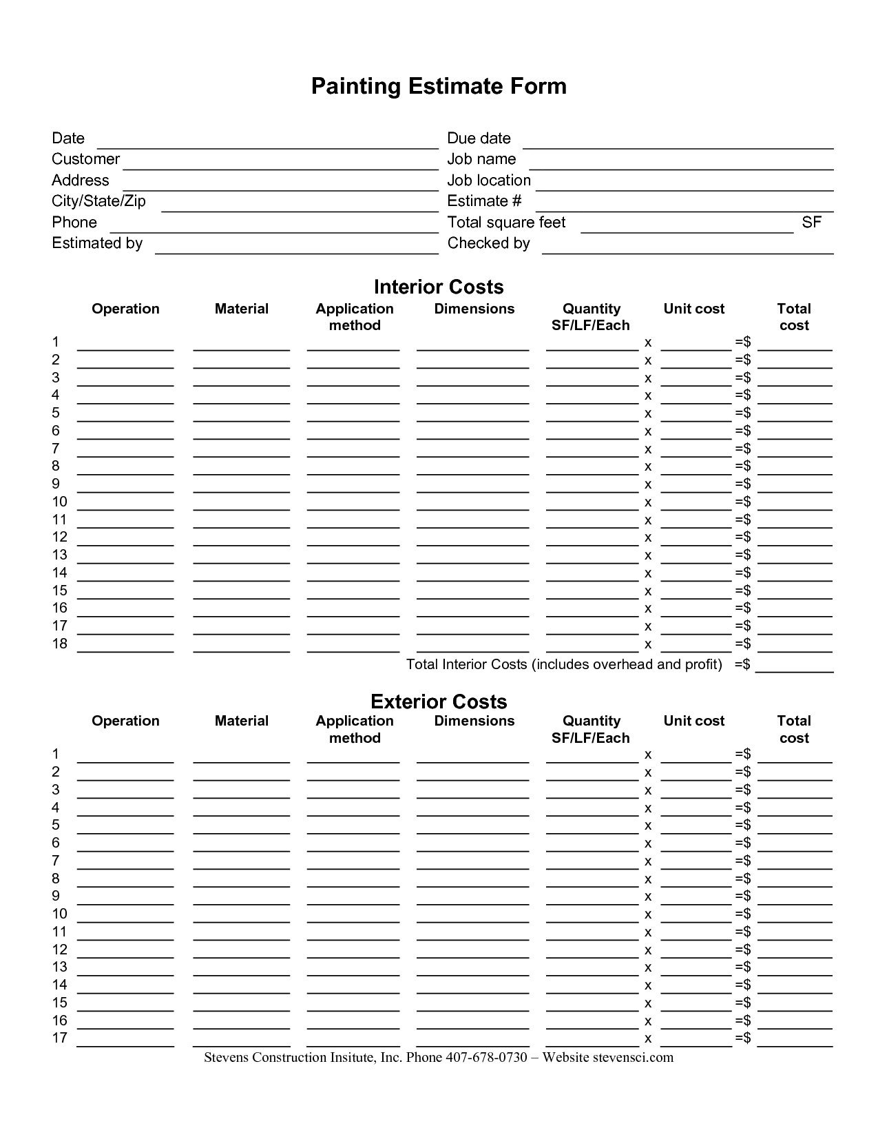 Painting Estimate Sheet Templates
