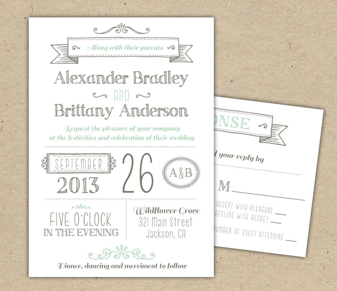 Printable Downloadable Wedding Invitation Templates