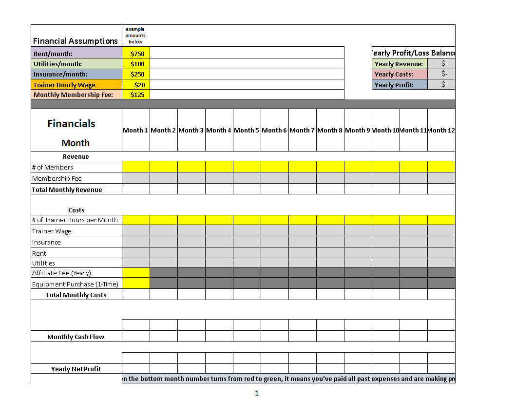 Profit Loss Excel Template