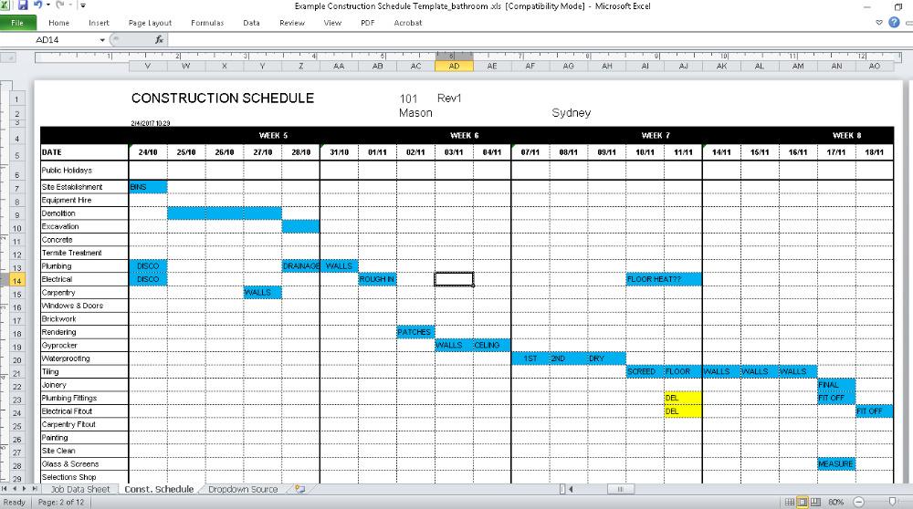 Renovation Schedule Template