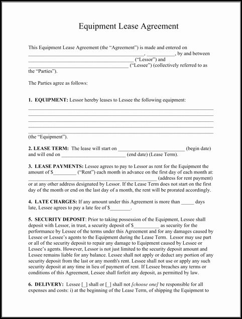 Rental Equipment Contract Template