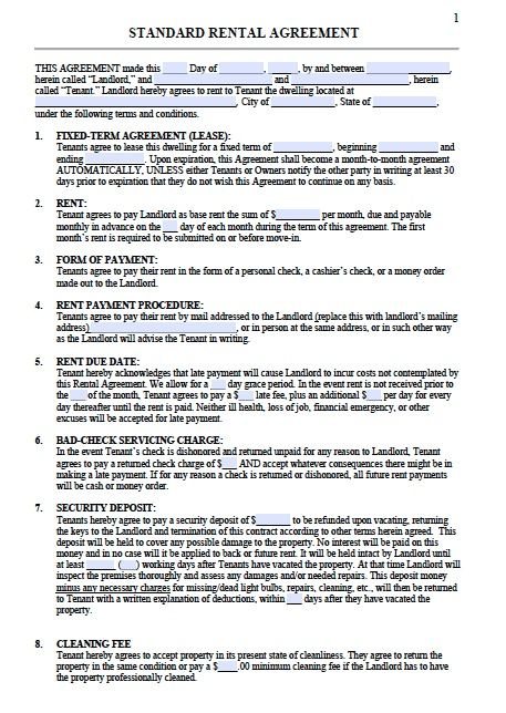 Rental Lease Agreements Templates Free