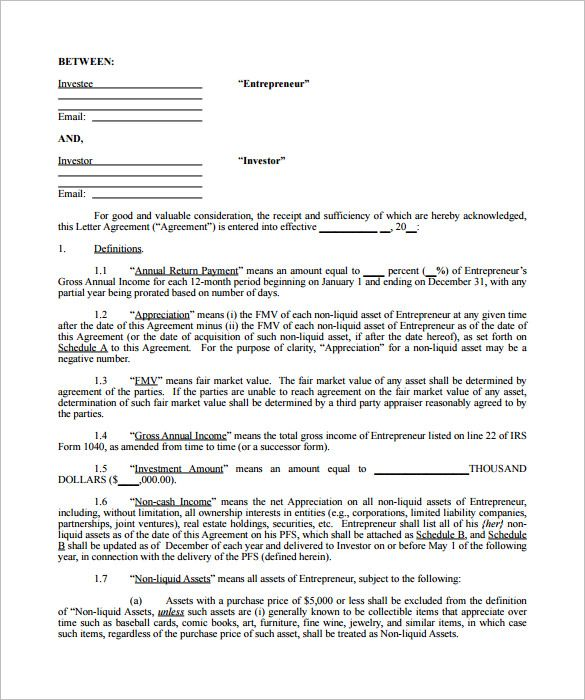Sample Investor Agreement Template