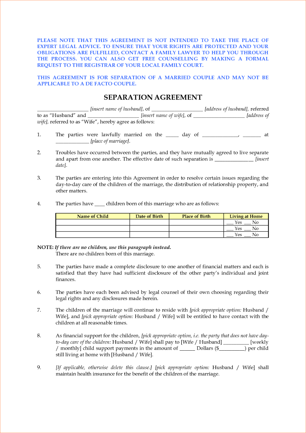 Separation Agreement Template Ontario Pdf