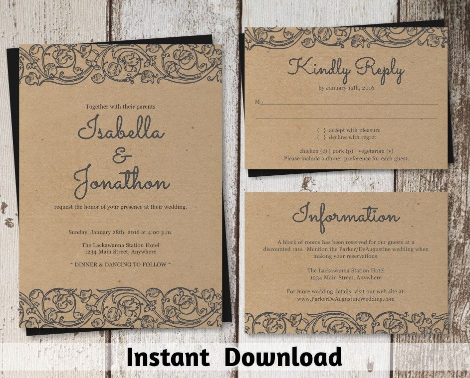 Shabby Chic Wedding Invitation Templates