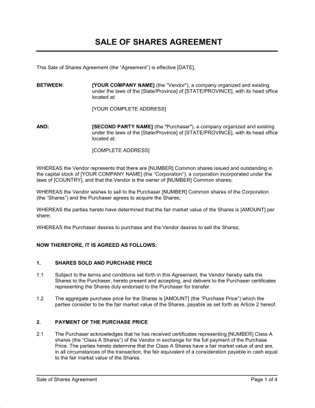 Shareholder Buyout Agreement Template