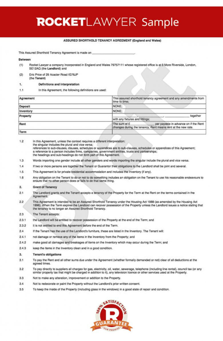 Shorthold Tenancy Agreement Template Uk