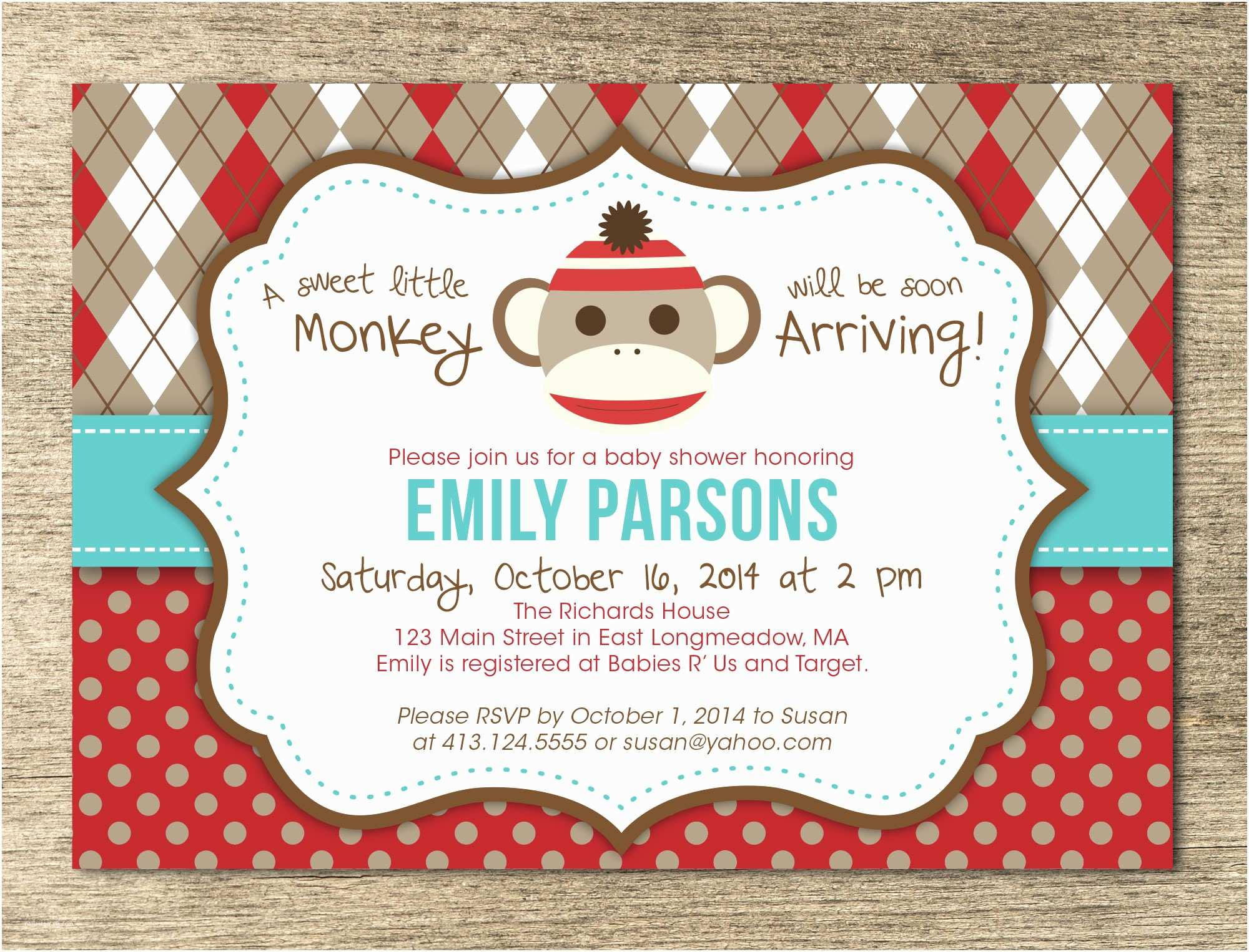 Sock Monkey Baby Shower Invitations Sock Monkey Baby Shower Invitation Template