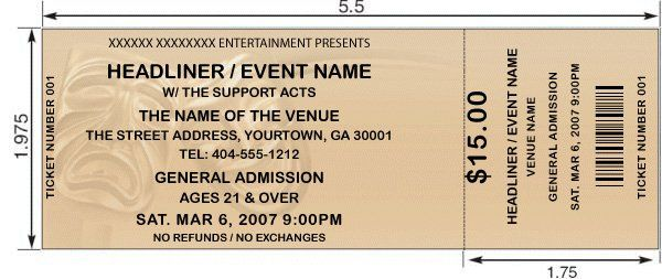 Ticket Printing Template