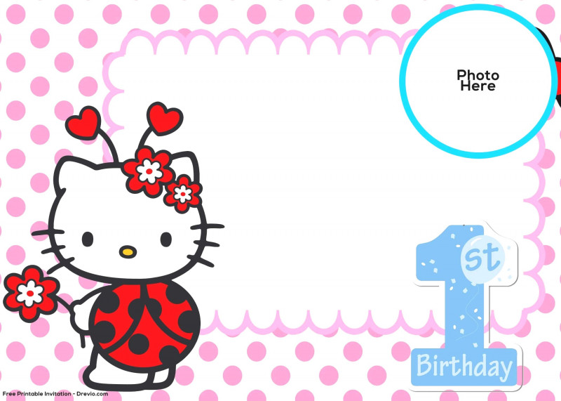 1st Birthday Hello Kitty Invitation Template Blank