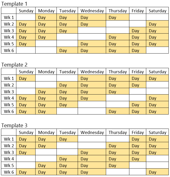 24 Hours Shift Schedule Templates