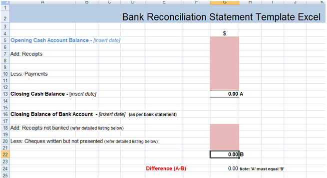 Bank Reconciliation Template Xls