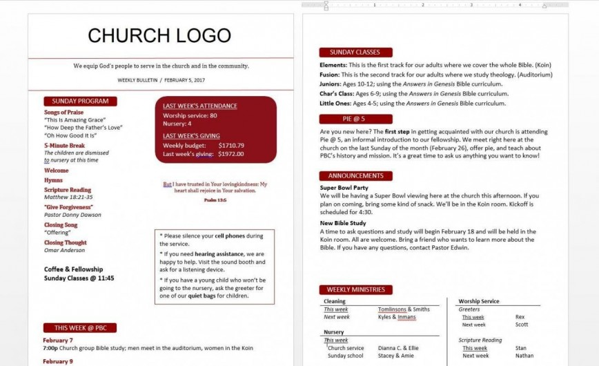 Church Bulletin Templates For Word