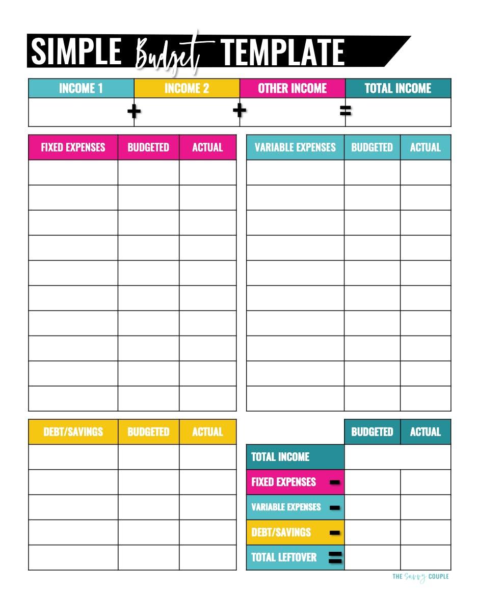 Customizable Free Printable Budget Templates