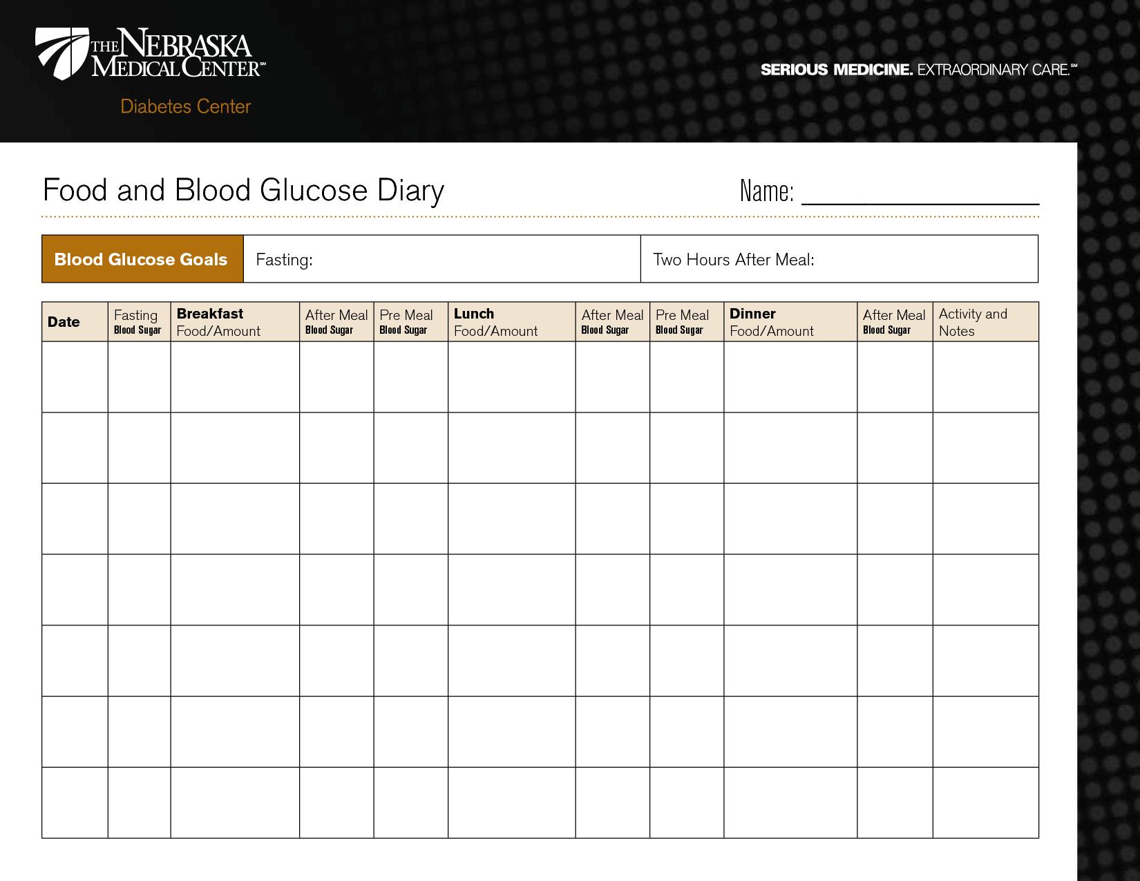 Diabetic Diary Template