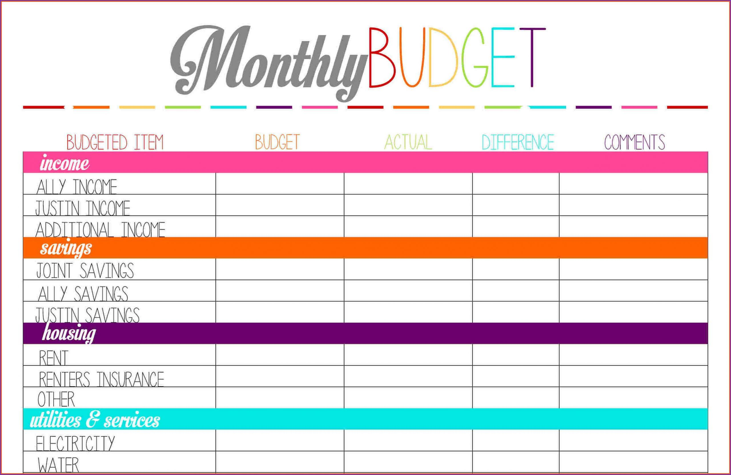 Downloadable Free Printable Budget Templates