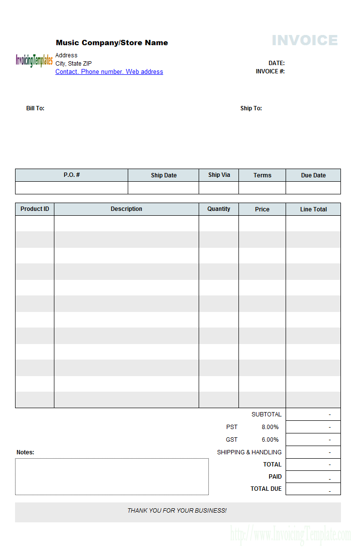 Downloadable Word Document Free Invoice Template Word