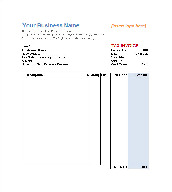 Editable Downloadable Invoice Template Pdf