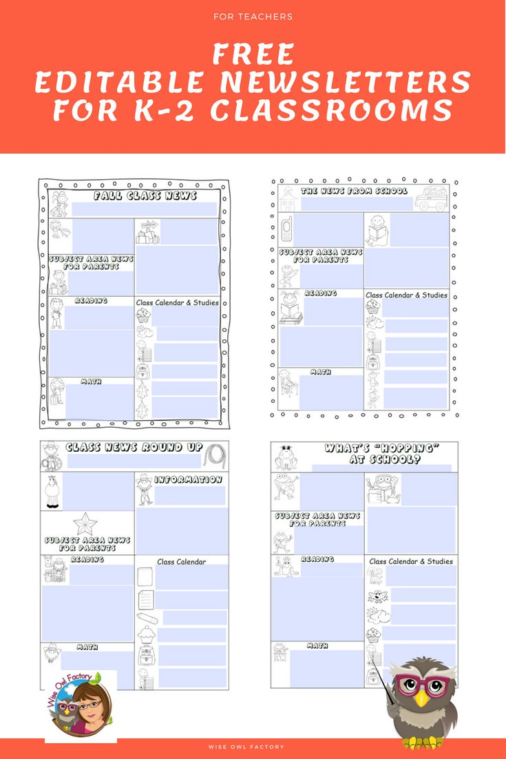 Editable Newsletter Templates For Teachers