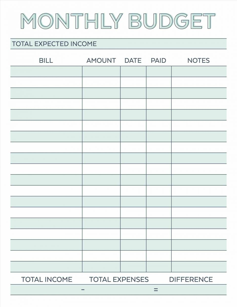 Household Budget Free Printable Budget Templates