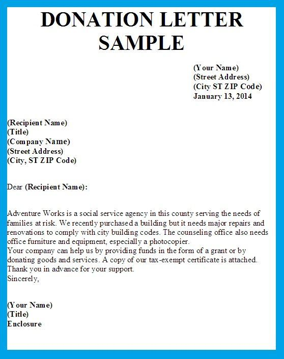 Letter Asking For Donations Template