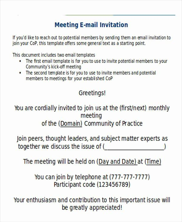 Meeting Invite Email Template
