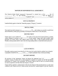 Month To Month Free Printable Rental Agreement Template